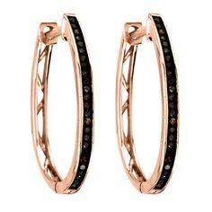De Couer 10k Rose Gold /6ct TDW Cognac Diamond Hoop Earrings