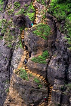 Stairs to the Hilltop castle, India.