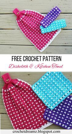 Make a matching pair of kitchen towels and dishcloths using the free crochet pattern. #dishclothcrochetpattern, #washclothcrochetpattern, #teatowelcrochetpattern, #kitchentowelcrochetpattern, #crochetdishcloth, #crochetwashcloth, #crochetteatowel, #crochetkitchentowel