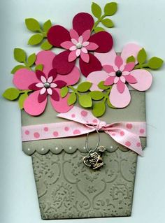 by Beverley Mantle - Cards and Paper Crafts at Splitcoaststampers Valentine Greeting Cards, Greeting Cards Handmade, Fun Fold Cards, 3d Cards, Shaped Cards, Mothers Day Cards, Handmade Birthday Cards, Scrapbook Paper Crafts, Flower Cards
