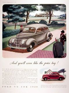 1938 Ford V-8 Standard original vintage advertisement. Available also in Deluxe version and the Club Coupe pictured lower right. Features 85 hp V-8 engine with average of 22 to 27 mpg and over 4 million sold. Ford V-8 for 1938.