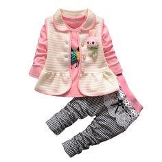 Barato BibiCola set Roupas Meninas Do Bebê Primavera criança terno Roupas  Dos Desenhos Animados do Miúdo da789b1e60b