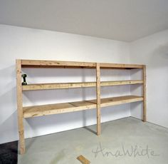 DIY Garage Organization Ideas - DIY Garage Shelving - Cheap Ways to Organize Garages on A Budget - Ideas for Storage, Storing Tools, Small Spaces, DYI Shelves, Organizing Hacks Garage Shelving Plans, Basement Shelving, Garage Storage Shelves, Garage Shelf, Garage Organization, Tote Storage, Organization Ideas, Diy Shelving, Shelving Units