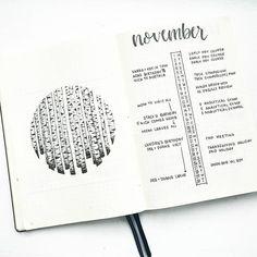 """1,808 Likes, 22 Comments - Liz • Bullet Journal (@bonjournal_) on Instagram: """"My November #bulletjournalmonthlylog with birch trees inspired by the talented artist @asebalko .…"""""""