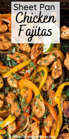 Sheet Pan Fajitas is a quick and easy meal with chicken, bell peppers, and onions. Super fast to make and requires very little hands on time. Bonus, this recipe is in my fall cookbook! #fajitas #sheetpan #chicken #dinner #easyrecipe Recipe Using Chicken, Chicken Fajita Recipe, Chicken Fajitas, Chicken Recipes, Healthy Chicken, Turkey Recipes, Sheetpan Chicken, Free Meal Plans, Yum Yum Chicken