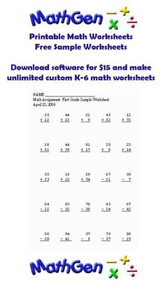 Free K-6 Math Worksheets or get the software and make custom worksheets for tests and practice.