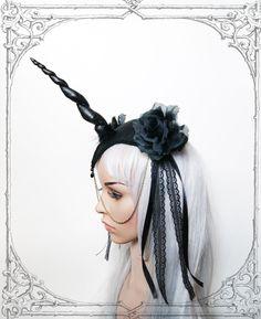 Unicorn Queen Fascinator (Goth, Gothic, Costume, black, headpiece ) by BlackUnicornShop on Etsy https://www.etsy.com/listing/160589950/unicorn-queen-fascinator-goth-gothic