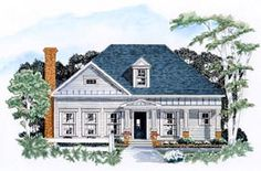 Elevation of Traditional   House Plan 58007