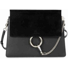 Chloe Faye Medium Leather Clutch - Black ($1,245) ❤ liked on Polyvore featuring bags, handbags, clutches, real leather purses, leather clutches, leather flap handbags, leather handbags and real leather handbags