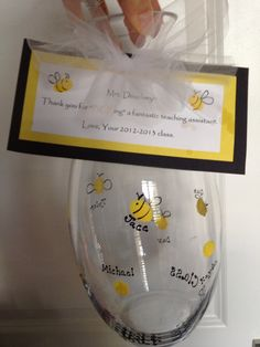 "Great teacher gift made from kids finger prints and then turned into little Bees. Card said, ""Thanks for BEE-ing a great teacher!"""