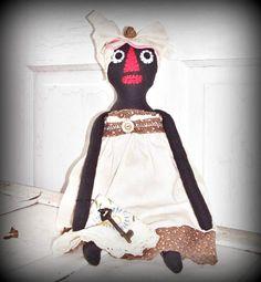 Primitive Folk Art Black Mammy Raggedy Doll