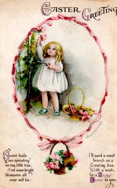 vintage Clapsaddle Easter postcard little girl cutting pink roses for basket