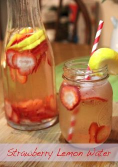 Strawberry Lemon Water-- This was very refreshing. I made mine in a 2 quart container. I used the whole lemon instead of the half. Made 8-3-13