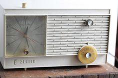 Vintage Zenith Clock Radio Cream Colored Clock by Fleaosophy, $38.00