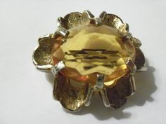 Vintage Huge Citrine Quartz? Couture Brooch