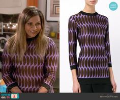 Mindy's purple half circle pattern sweater on The Mindy Project.  Outfit Details: https://wornontv.net/61020/ #TheMindyProject