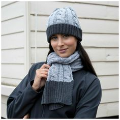 48f5e75bd8f957 Details about Chunky Knit Hat and Scarf Set Warm Soft Winter Grey Charcoal  Mens Womens Ladies
