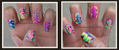Water Marbling without water, yes you read that ri. Water Color Nails, Nail Art Stripes, Water Marbling, Bling Nails, Manicures, Nail Colors, Marble, Southern, Polish