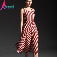 Nouveau mode de womsn doux sans manches rouge blanc rayé col rond cheville longueur d'une seule pièce élégante en mousseline de soie drapée robe femelle dans Robes de Femmes de Vêtements et Accessoires sur AliExpress.com | Alibaba Group