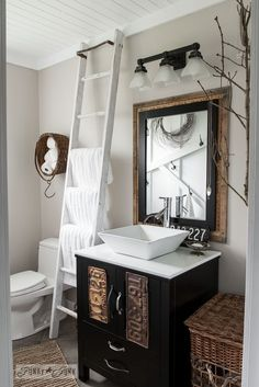 Love the ladder!!  How to plank a bathroom ceiling with pine planks - full tutorial via http://www.funkyjunkinteriors.net/
