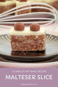 Our famous no-bake Malteser Slice takes only 10 minutes to prepare. and tastes AMAZING! A chocolate rice bubble base topped with sweet and creamy white chocolate and decorated with extra Maltesers. Tray Bake Recipes, Lunch Box Recipes, Sweet Recipes, Baking Recipes, Dessert Recipes, Candy Recipes, Malteser Slice, Delicious Desserts, Gummi Candy