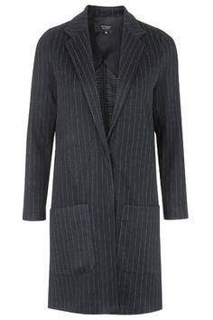Pinstripe Jersey Throw-On Coat