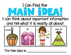 Main Idea {Made Easy with Pictures} For Kindergarten & First Grade Reading Anchor Charts First Grade, Kindergarten Anchor Charts, Kindergarten Literacy, Preschool Learning, Reading Lessons, Reading Skills, Teaching Reading, Guided Reading, Main Idea Activities