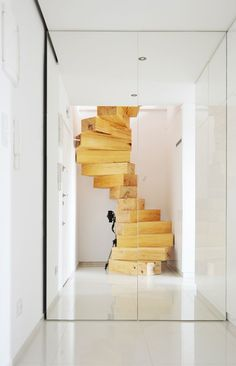 Spiral staircase made from chunky wooden blocks by QC Wooden Staircases, Stairways, Spiral Staircases, Interior Stairs, Interior Architecture, Espace Design, Escalier Design, Wooden Steps, Loft Stairs