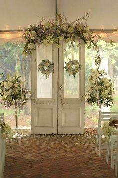 Free Standing Door for the front of the ceremony area? I LOVE the flowers!