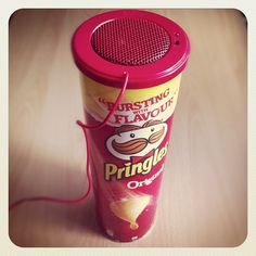 Pringles Speaker - put it in the top of a Pringles can for an instant speaker