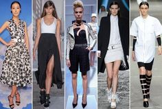 Spring 2013 Runway Trend: Black and White  L-R: Alice + Olivia, DKNY, Catherine Malandrino, Diesel, Alexander Wang