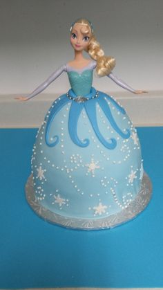 Frozen Princess Elsa doll cake - My version of a Princess Elsa cake. WASC cake with vanilla buttercream covered in fondant