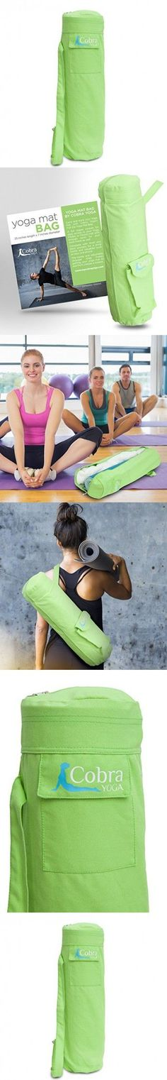 Cobra Yoga Mat Bag with Pocket and Shoulder Strap - Large to Fit Towel - Green
