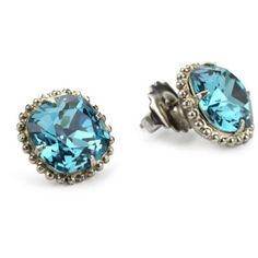 "Sorrelli ""Salt Water"" Cushion Cut Antique Silver-Tone Stud Earrings"