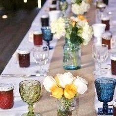 Mismatched glasses - Vintage - Barn Wedding - Jam Wedding Favors - Mason Jar Vases
