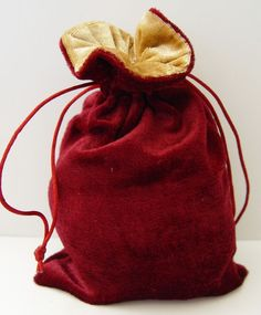 BURGUNDY & GOLD VELVET TAROT BAG 200 x 120 mm Wicca Witch Pagan Goth Punk