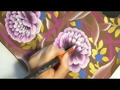 Painting the peony, Desenhar peônia, One Stroke, irishkalia - YouTube