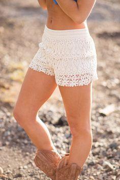 Summer Of 69 Crochet Lace Shorts (Ivory) - NanaMacs.com - 1