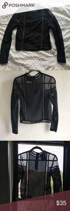NWT TOPSHOP Black Net/Mesh Top Has tag and has never been worn. Completely see through with nice woven mesh details. Great for going out in summer. Perfect condition. No trades, please. Topshop Tops Crop Tops