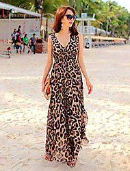Women's V-neck Leopard Bohemia Ankle Length Chiff... – USD $ 8.33