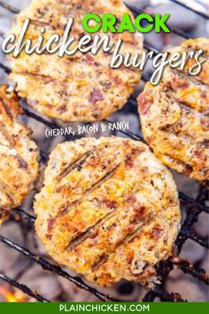Crack Chicken Burgers - the BEST ground chicken burger EVER!!! We ate these for lunch and dinner on the same day. Who knew ground chicken burgers could taste so good?!? Ground chicken, cheddar cheese, bacon, ranch dressing mix. Can make patties ahead of time and refrigerate or freeze for later. These are a new favorite in our house! #lowcarb #keto #chicken #burger Meat Recipes, Low Carb Recipes, Cooking Recipes, Healthy Recipes, Chicken Burger Recipes, Water Recipes, Dinner Recipes, Chicken Recipes For Dinner, Homemade Chicken Burgers