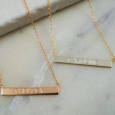 Engraved Bar Necklaces for bridesmaids, Alexandra Beth Designs
