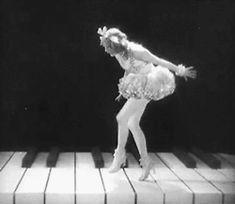 gif Black and White vintage ballerina retro piano ziegfeld follies flapper