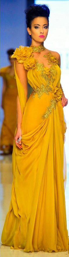 Fouad Sarkis S / S Couture 2014 not fond of the colour, but the dress itself is gorgeous