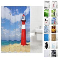 Duschvorhang, viele schöne Duschvorhänge zur Auswahl, hochwertige Qualität, inkl. 12 Ringe, wasserdicht, Anti-Schimmel-Effekt (180 x 180 cm, Leuchtturm): Amazon.de: Küche & Haushalt