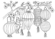 Adult Colouring Page Chinese Lanterns by PatternPixie on Etsy Pattern Coloring Pages, Coloring Book Pages, Doodle Drawings, Doodle Art, Lantern Drawing, Art Asiatique, Chinese Lanterns, Art Plastique, Elementary Art