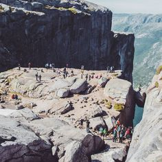The destination rock.  #hiking #travel #adventure #journey #photography #photooftheday #picoftheday #rock #mountain #climbing #texture #wilderness #perspective #focus #colour #blue #distance #architecture #kjerag #norway #tourism #people #traffic by kastytis_donauskis