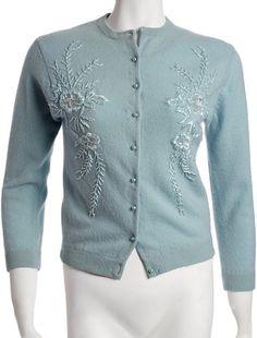 Vintage Pastel Blue Cardigan with Sky Blue by FigureandFormVintage, $175.00
