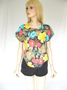 Vintage 80s Tropical Print Boho Blouse by TimeBombVintage on Etsy