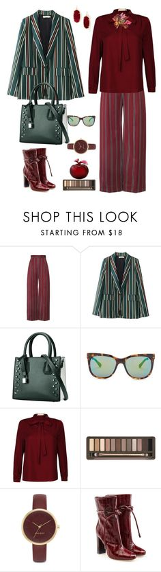"""The maroon leaves of the tree wrap around the shoulders."" by m-kints ❤ liked on Polyvore featuring Diane Von Furstenberg, Urban Decay, Nine West, Malone Souliers, Lalique, Kendra Scott and maroon"